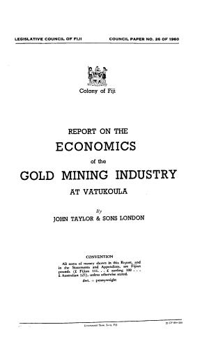 Report on the Economics of the Gold Mining Industry at Vatukoula