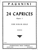 24 caprices, opus 1, for violin solo