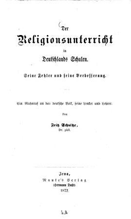 Der Religionsunterricht in Deutschlands Schulen PDF