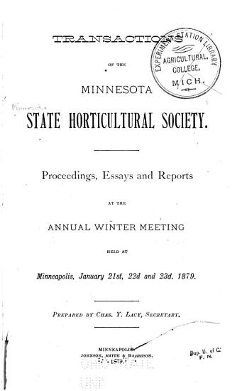 Transactions of the Minnesota State Horticultural Society PDF