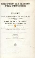 Federal Government s Role in the Achievement of Equal Opportunity in Housing PDF