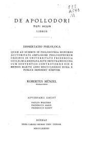 De Apollodori Peri theōn libris...