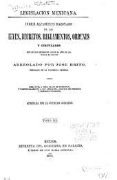 Legislacion mexícana: indice alfabetico razonado de las leyes, decretos, reglamentos, ordenes y circulares que se ban expedido desde el año de 1821 hasta el de 1869, Volumen 3