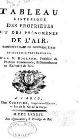 Tableau historique des propriétés et des phénomènes de l'air: considéré dans ses différens états et sous ses divers rapports ...