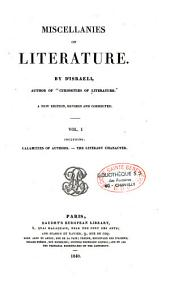 Miscellanies of literature: Volume 1