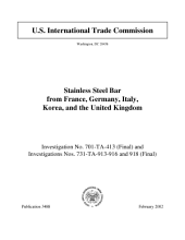 Stainless Steel Bar from France, Germany, Italy, Korea, and the United Kingdom