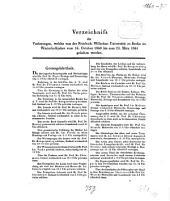 Verzeichnis der Vorlesungen: 1860/61, WH
