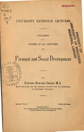 Syllabus of a Course of Six Lectures on Personal and Social Development ...