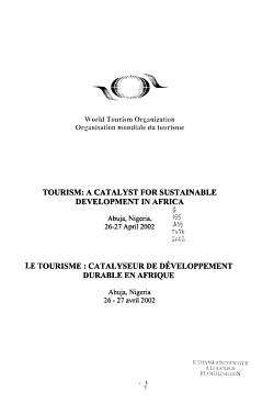 Tourisme   Catalyseur de D  veloppement Durable en Afrique  Abuja  Nigeria  26 27 Avril 2002 PDF