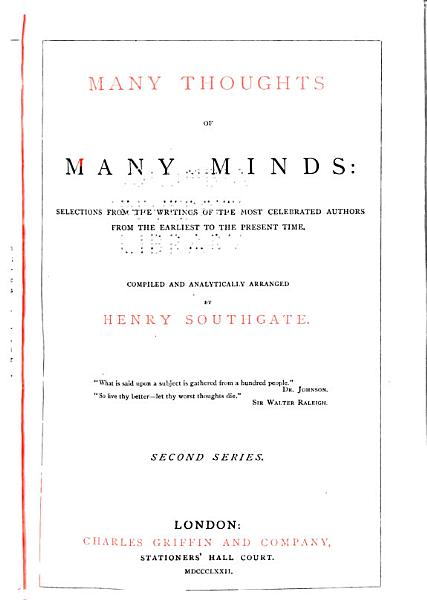 Download Many Thoughts of Many Minds Book