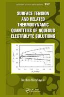 Surface Tension and Related Thermodynamic Quantities of Aqueous Electrolyte Solutions PDF