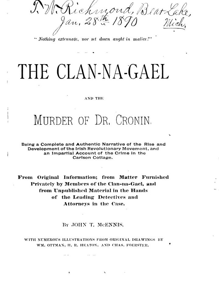 The Clan-Na-Gael and the Murder of Dr. Cronin