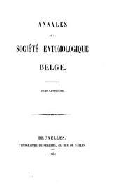 Bulletin et annales de la Société royale d'entomologie de Belgique: Volumes5à8