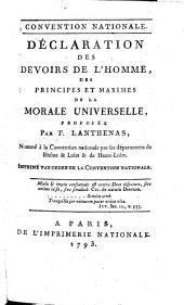 Déclaration des devoirs de l'homme, des principes et maximes de la morale universelle, proposée par F. Lanthenas...