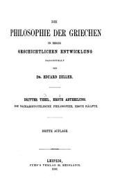 Die Philosophie der Griechen in ihrer geschichtlichen Entwicklung: Th. Die nacharistotelische Philosophie. 2 v