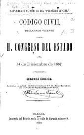 Código civil declarado vigente por el H. Congresso del estado el 14 de diciembre de 1887. Pérez Ortiz, con aprobación del superior gobierno del estado