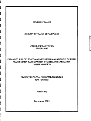 Expanded Support to Community Based Management of Rural Water Supply Participatory Hygiene and Sanitation Transformation