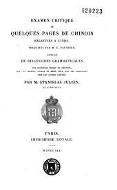 Examen critique de quelques pages de chinois relatives à l'Inde traduites par M. G. Pauthier