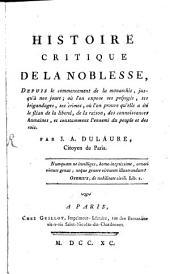 Histoire critique de la noblesse