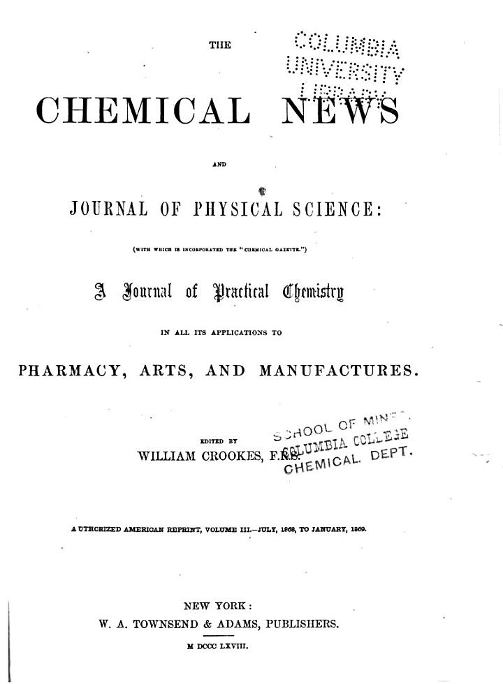 Chemical News and Journal of Physical Science