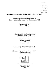 Congressional Hearings Calendar