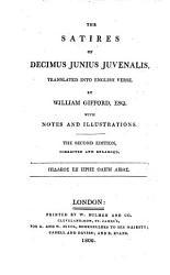 The Satires Of Decimus Junius Juvenalis Tr Into Engl Verse By W Gifford With Notes Book PDF