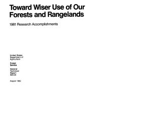 Toward Wiser Use of Our Forests and Rangelands PDF