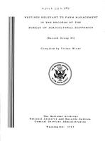 Special List No 17  Writings Relevant to Farm Management in the Records of the Bureau of Agricultural Economics PDF