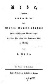 Rede gehalten bei der Feier von Moses Mendelssohns hundertjährigem Geburtstage