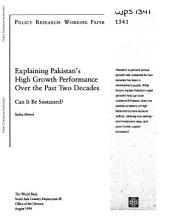 Explaining Pakistan's High Growth Performance Over the Past Two Decades: Can it be Sustained?