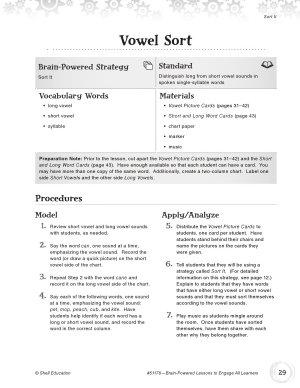 Brain Powered Lessons  Vowel Sort PDF