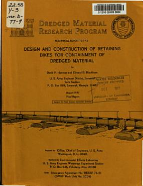 Design and Construction of Retaining Dikes for Containment of Dredged Material PDF