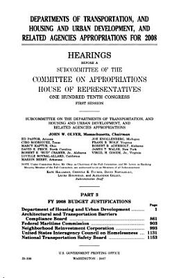 Departments of Transportation  and Housing and Urban Development  and Related Agencies Appropriations for 2008