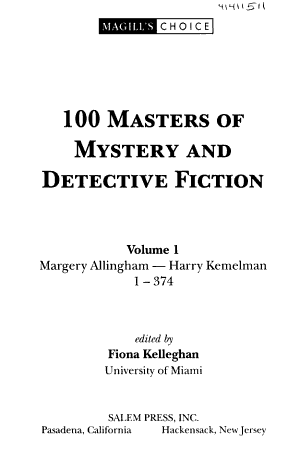 100 Masters Of Mystery And Detective Fiction