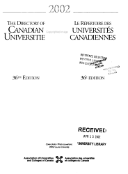 Directory Of Canadian Universities Book PDF