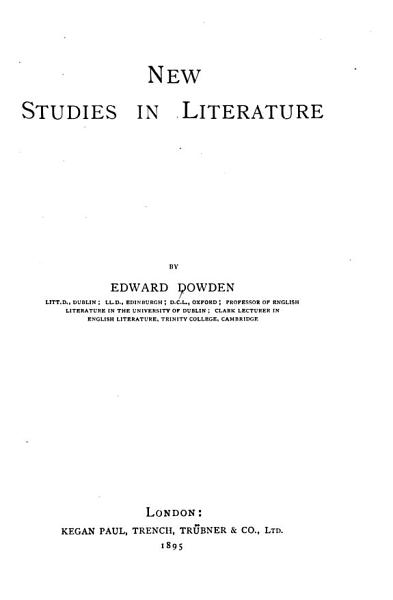 Download New Studies in Literature Book