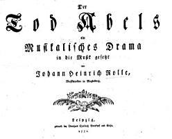 Der Tod Abels  ein Musikalisches Drama  etc   Words by Patzke  Vocal score   PDF
