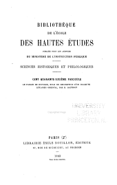 Bibliothèque de l'École des hautes études: Sciences historiques et philologiques, Volume146