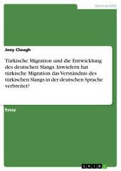 Türkische Migration und die Entwicklung des deutschen Slangs. Inwiefern hat türkische Migration das Verständnis des türkischen Slangs in der deutschen Sprache verbreitet?