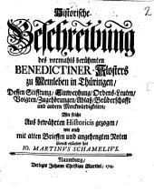 Historische Beschreibung des vormals berühmten Benedictiner-Klosters zu Memleben