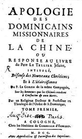Apologie des Dominicains missionaires de la chine: Volume1