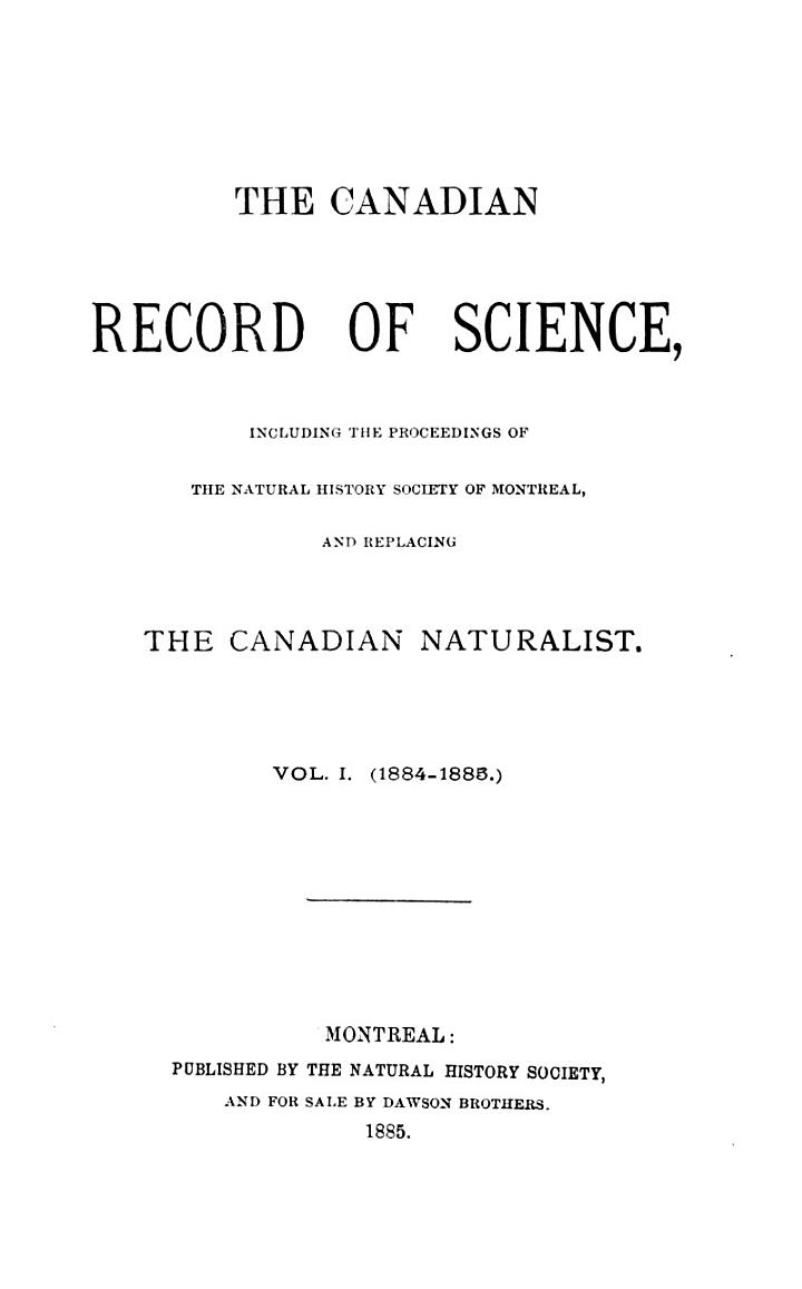 The Canadian Record of Science