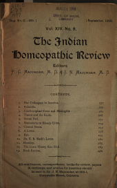 The Indian Homoeopathic Review: Volume 14