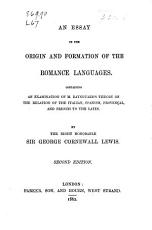 An Essay on the Origin and Formation of the Romance Languages PDF