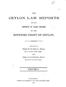 The Ceylon Law Reports PDF