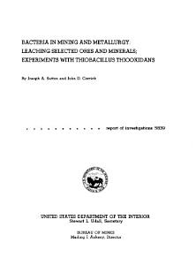 Bacteria in Mining and Metallurgy