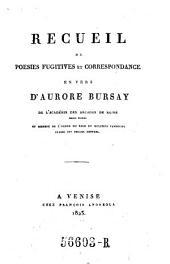 Recueil de poesies fugitives et correspondance en vers. - Venise, Francois Andreola 1823