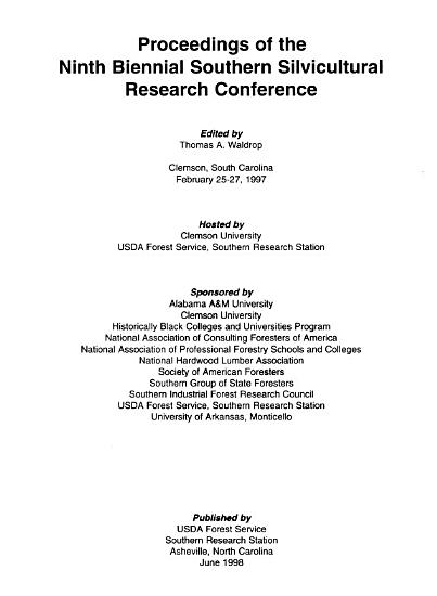 Proceedings of the Ninth Biennial Southern Silvicultural Research Conference PDF