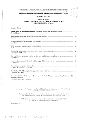 The South African Journal of Communication Disorders PDF