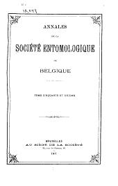 Annales de la Société entomologique de Belgique: Volume51